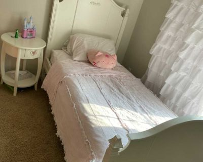 EUC Pottery Barn Kids Madeline twin bed (no mattress) and nightstand. $475. Cross posted. Pick up only.