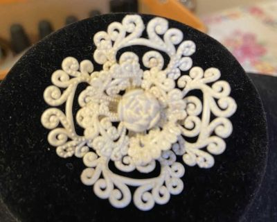 Vintage White lacy celluloid pin