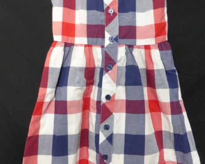 BABY GAP, 5 years, plaid dress, button back