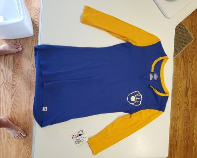 Milwaukee Brewers Woman's 3/4 length Sleeve Size S Blue/Gold Shirt Majestic Brand ~ Genuine MLB ...