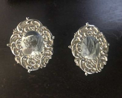 Aged Silver Vintage Earrings Pierced