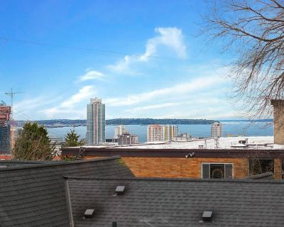 """View Apartment on quiet street w/FP, WA/DR, 55"""" TV, King Bed close to Light Rail - Broadway"""