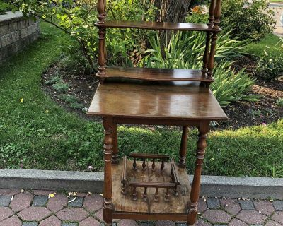 Antique Table with Table Top Shelf From the 1900s