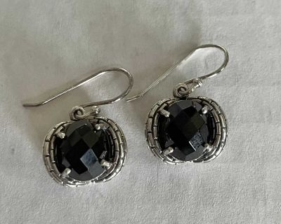Sterling Silver Black Onyx Earrings Earrings Faceted Stone