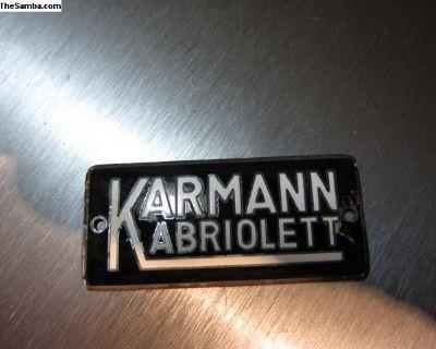 Original Karmann Convertible Badge 53-60