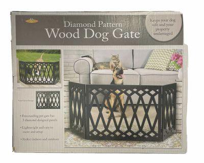 "Pet Store 3-Panel Black Wood Diamond Pattern Dog Gate 48""W x 19""H"