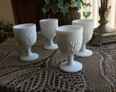 Reduced 4 Imperial Milk Glass Goblets