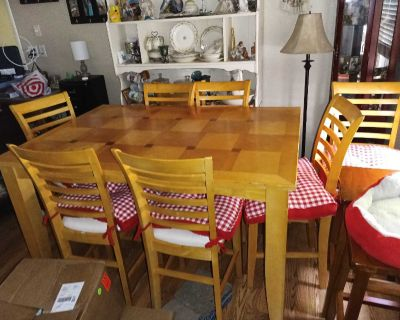 Pub dinning table and 8 chairs