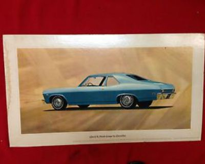 1968 Chevy Ii Nova Coupe Showroom Poster Ss 327 350 396 427 Copo Ss350 Ss396 427