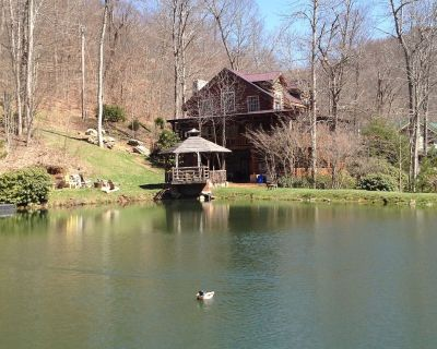 Large lakeside cabin. 2 custom fire places, stocked pond - Mars Hill