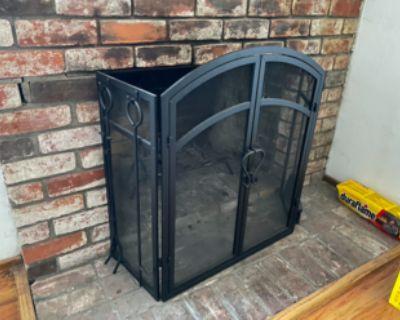 Matte Black Metal Fireplace Screen with Door and Tools + Grate!
