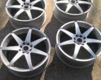 (4) 17 X 7 Tuner Wheels 4 On 100 Mm / 4 On 4.5 Jaguar Silver Finish