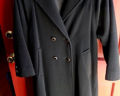 Women's Black Petit Medium Dress Coat (Size 10)