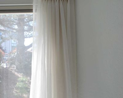 """Set of 2 x 85"""" long, wide sheer curtain panels with pleats"""