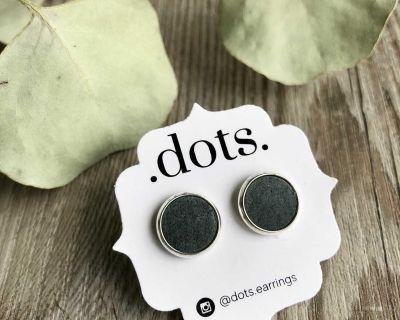 Dots Genuine Leather Deep Blue Studs