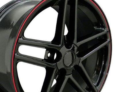 "One 18"" Black C6 Style Wheel Red Line Fits Corvette Camaro Ss Firebird Ta B1w"