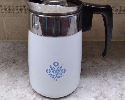 VINTAGE CORNINGWARE BLUE CORNFLOER COFFEE POT