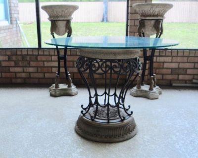 Vintage Round Italian Stone & Wrought Iron Table