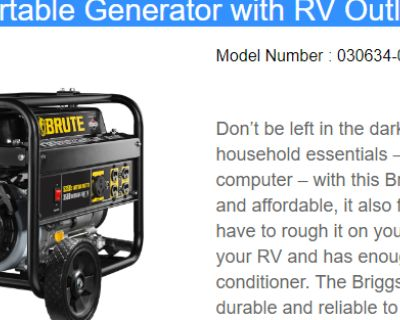 BRUTE Portable Generator (NEW - Never Used!!)