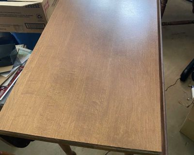 VINTAGE WOODEN DROP LEAF TABLE WITH CHAIRS