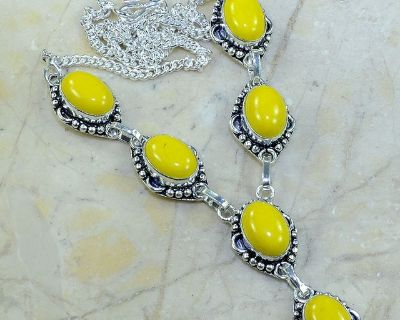 """New - Yellow Agate Sterling Silver 19.25"""" Necklace"""