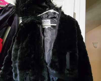 Justice hooded faux fur coat