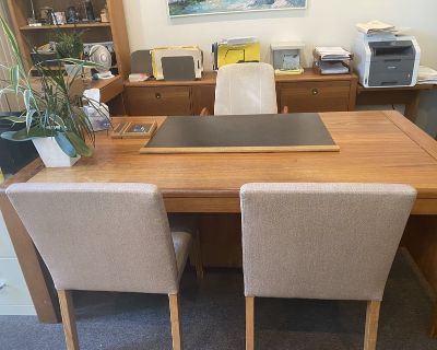 Desk - solid Teak. With matching credenza