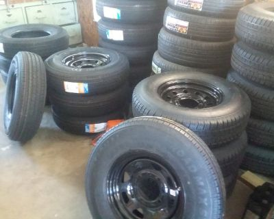$90 New 12 Ply Trailer Rims & Tires ST235/80R16