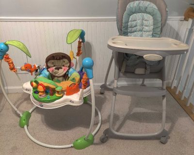 Highchair and Baby Bouncer