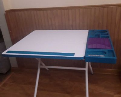 """Fold up Americrafters table.School desk, craft table, art table. See all photos . Built in ruler , storage space. 24"""" H x 31"""" L x 24"""" D."""