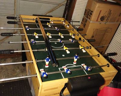 Foosball, pool, air hockey, table tennis table... All parts included.. Two legs a little wobbly, but works great, just cannot drag.. pick up