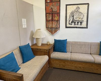 Sofa, loveseat with corner table and lamp