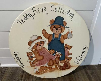Teddy Bear Round Wood Wall Plaque or Table Top