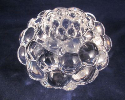"""orrefors crystal raspberry votive candle holder 2.75"""" tall x 4.25"""" EXCELLENT"""