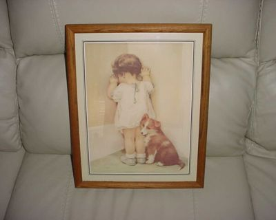 Vintage In Disgrace Bessie Pease Guttman 12 x 15 Wooden Glass Framed Picture. Lovely Old Warm Color Best Describes This Darling &...