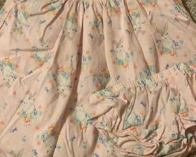 EUC smocked bunny dress with bloomers size 12m