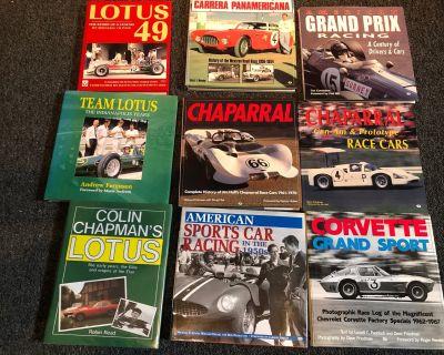 Nine racing hardback books Alfa Lotus Chaparral other