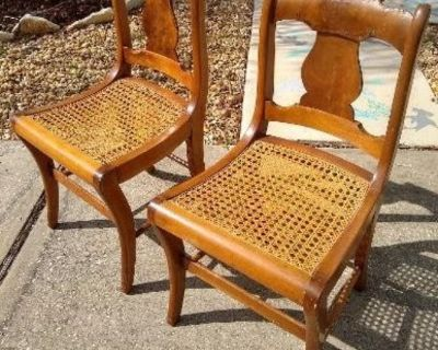 2 Matching Vintage Wood Rattan/Cane Chairs!