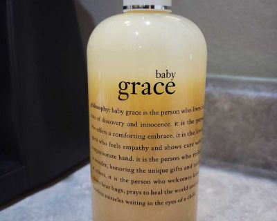 PHILOSOPHY BABY GRACE PERFUMED OLIVE OIL BODY SCRUB, 16 OZ. USED ONCE.