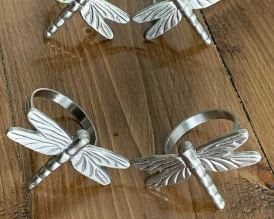 4 piece stainless steel dragonfly napkin rings