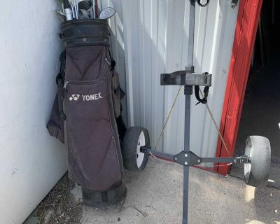 Set of Golf Clubs with 2 wheel dolly