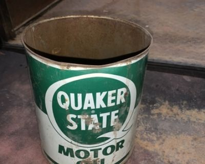 vintage Quaker state motor oil can tin