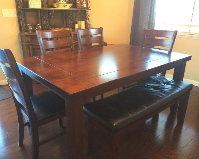 Dining table- with 4 chairs and a bench