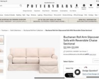 Pottery Barn Buchanan Roll Arm Slipcovered Sofa with Reversible Chaise Sectional