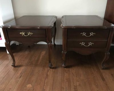 2 Solid Wood Side Tables With Drawers, Delivery Possible