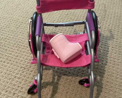 18 in doll wheel chair and cast