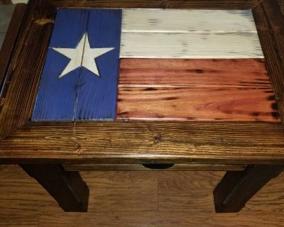 Newly made, rustic Texas flag side table