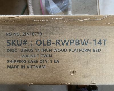 Twin Bed Frame in Box. NEW.