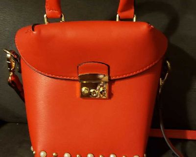 For Sale: Red Purse with Pearl Accents