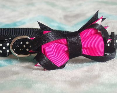 Brand New with Tag! Super Adorable Black with Pink Bow and White Polkadots Extra Small Dog Collar